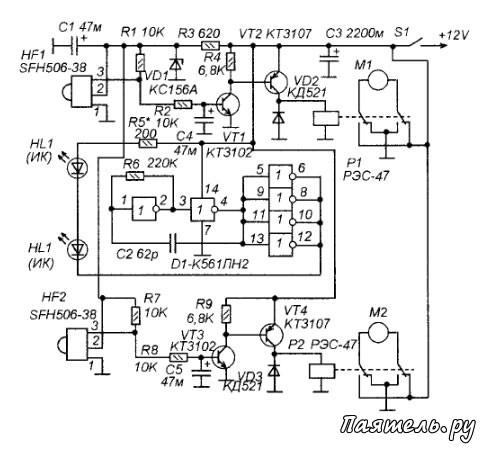 Схема электронного робота-жука