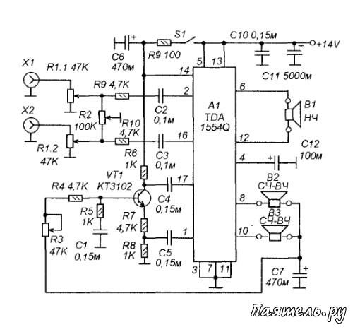 Схема фильтра для акустических систем.