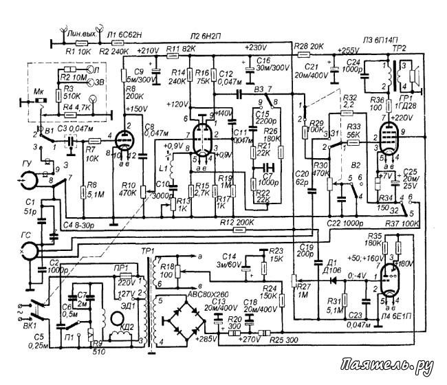 схема магнитофона из журнала