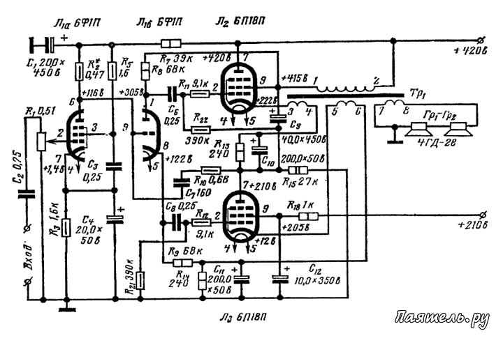 Схема лампового Hi-Fi