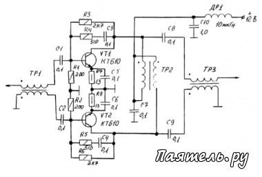 Схема усилителя высокой частоты - трансивера