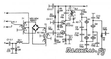 Схема простого коротковолнового трансивера.