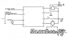 Схема противоугонного устройства сигнализации