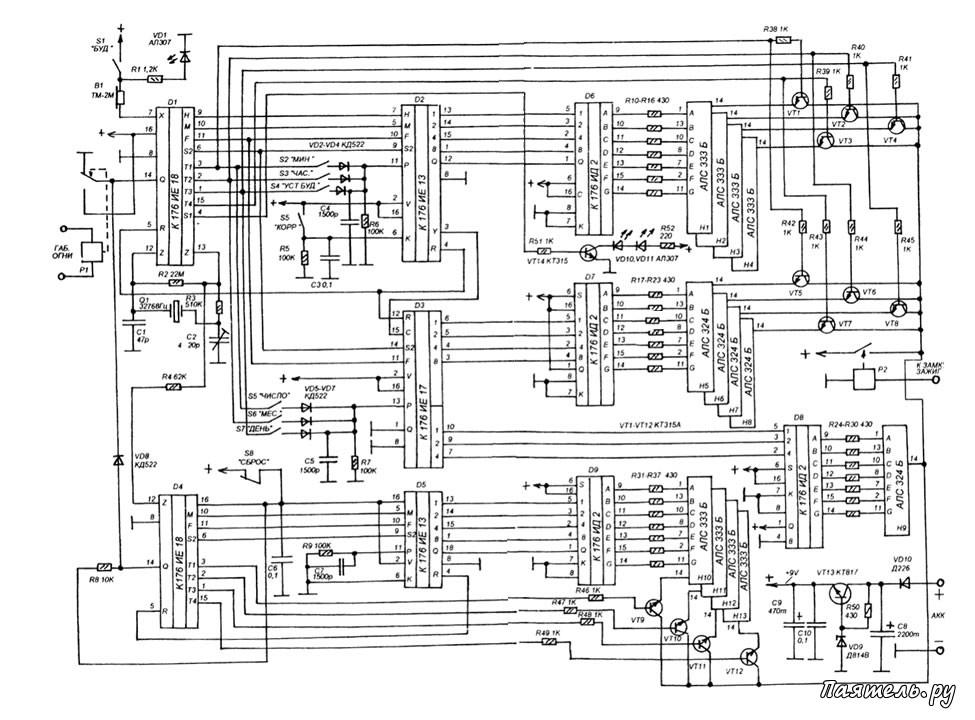 Схема авточасов с расширенными