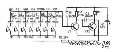 Схема простого электромузыкального инструмента.