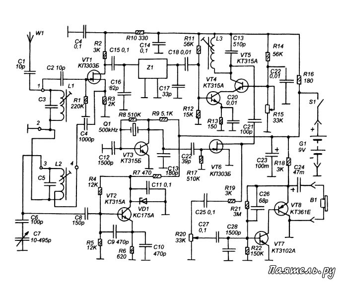 Несложный радиоприемник, схема