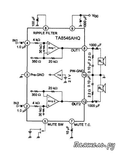 Микросхемы УМЗЧ TA8246AHQ