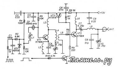 Стационарное расположение передатчика позволяет использовать полноразмерную СВ-антенну, замаскированную под провод...