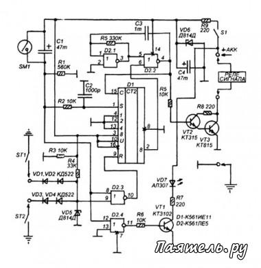 Схема основана на одно тактовом мультивибраторе который состоит из элементов D2.1 D2.2 и двоичного счетчика D1 с...
