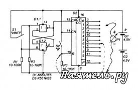 Для изучения функционирования микросхемы К561ИЕ8 (К176ИЕ8) соберите схему, показанную на рисунке 2...