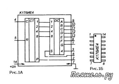 Счетчики-дешифраторы К176ИЕ3, К176ИЕ4