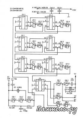Схема частотомера на микросхемах К561 и К176.