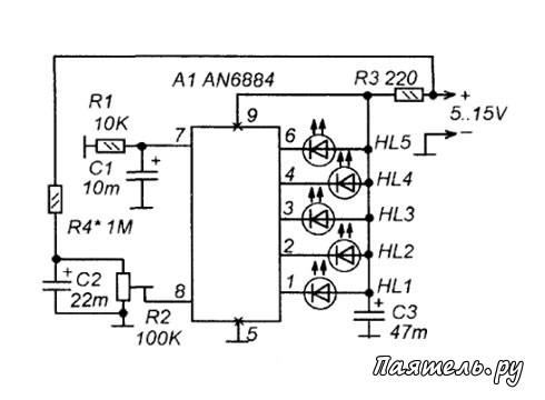 Схема светодиодных индикаторов