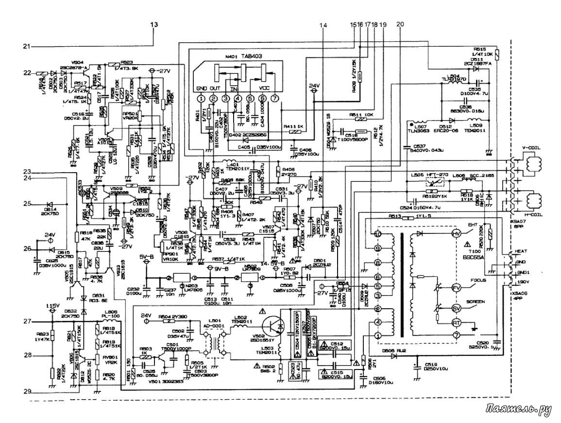 Схема и ремонт телевизора Rolsen C-2120, 1420.