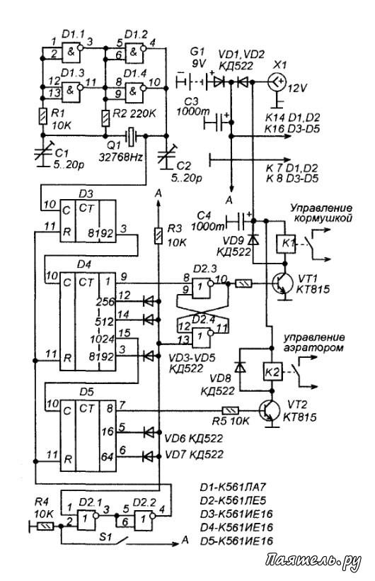 """Схема таймера для аквариума """" Паятель.Ру - Все электронные схемы"""