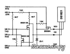 Схема программируемого термодатчика DS1821.