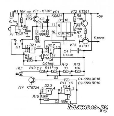 Схема автоматического управление предметом на ИК-лучах.