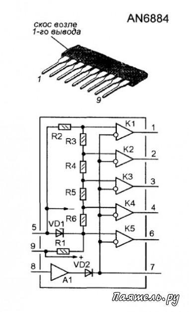 Микросхемы.  Микросхема AN6884 предназначена для работы в светодиодных индикаторах уровня сигнала...