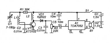Схема АМ-приемника на транзисторе и TDA7052.