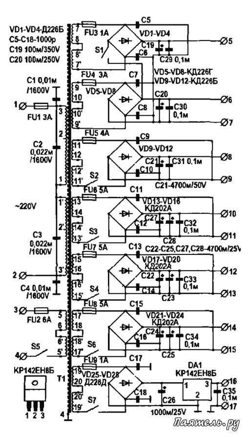 Схема универсального блока питания для ремонта ТВ.