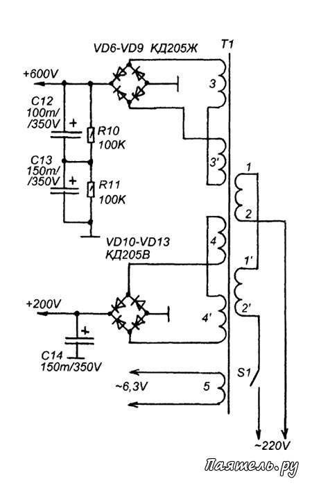 Схема усилителя мощности КВ-