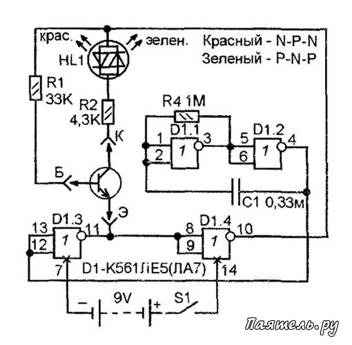 Простой пробник транзисторов