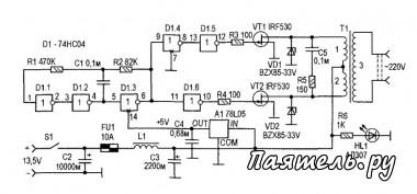 Схема автомобильного преобразователя напряжения 12В-220В