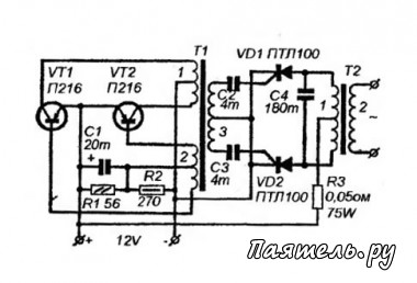 Схема мощного преобразователя 12В / 220В