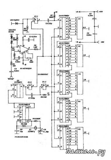 Схема простого цифрового частотомера.