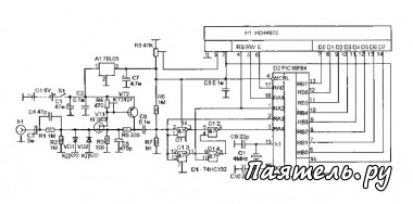 Схема частотомера на микроконтроллере.