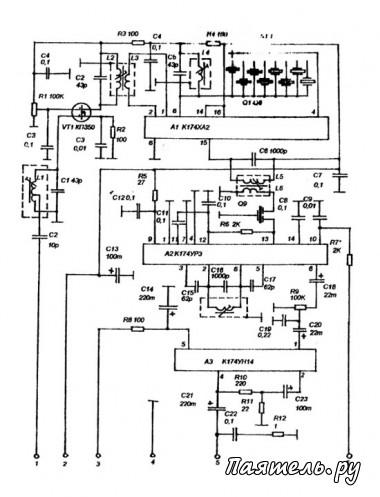 Схема автомобильной СВ радиостанции 27МГц.