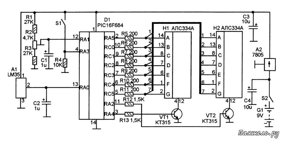 Простой цифровой термометр своими руками с датчиком на lm35 24